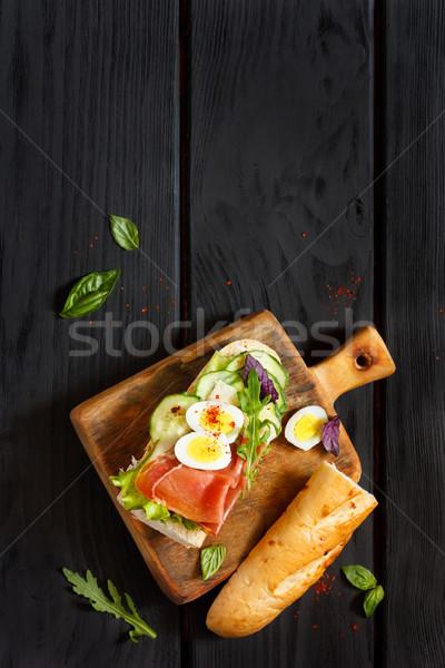 自家製 サンドイッチ 卵 ハム 菜 ストックフォト © lidante