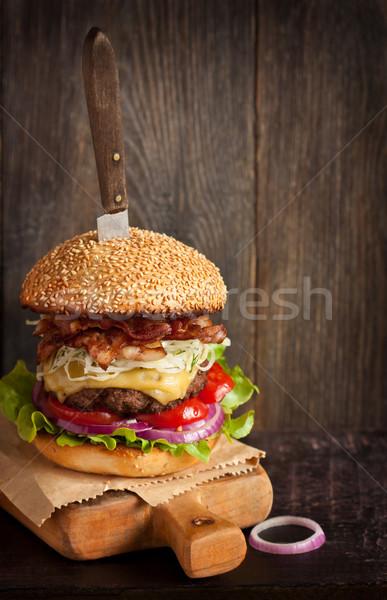 чизбургер большой высокий бекон Сток-фото © lidante