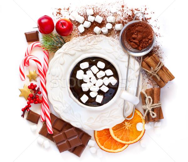 Foto stock: Chocolate · quente · copo · cremoso · comida · ingredientes · natal