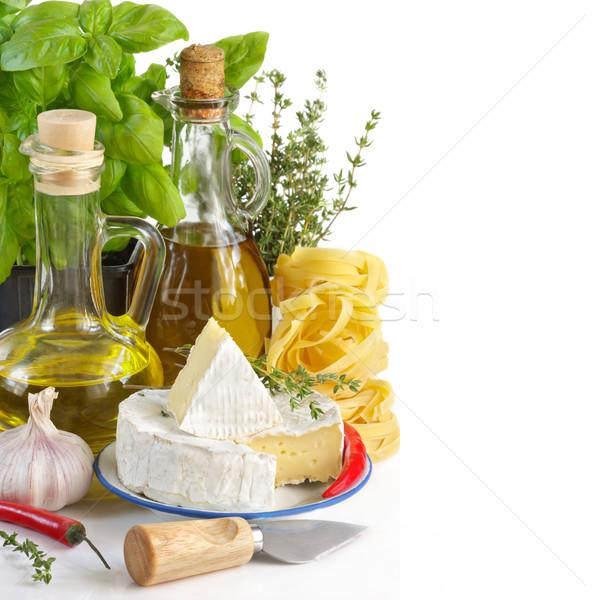 İtalyan gıda malzemeler beyaz sağlık mutfak yeşil Stok fotoğraf © lidante