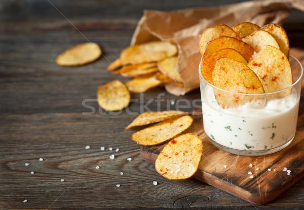 Stock fotó: Sült · krumpli · házi · készítésű · burgonyaszirom · fűszeres · mártás