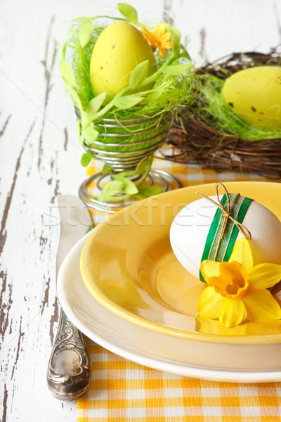 Húsvét húsvéti tojások tavaszi virág fehér fa deszka virág Stock fotó © lidante