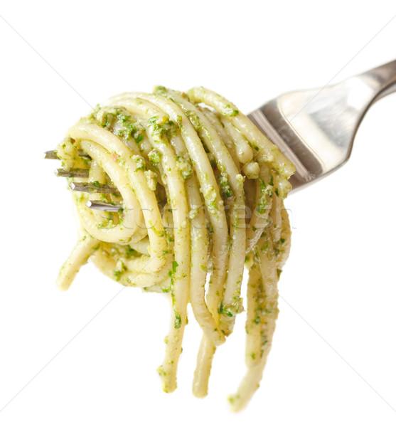 Spagetti pesto sıcak çatal gıda arka plan Stok fotoğraf © lidante