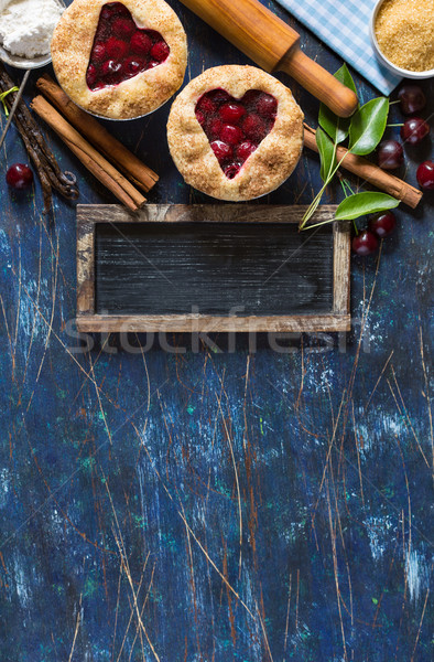 Doce torta de cereja mini cereja tortas ingredientes Foto stock © lidante