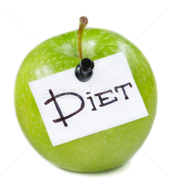 Zöld alma friss diéta fehér étel Stock fotó © lidante