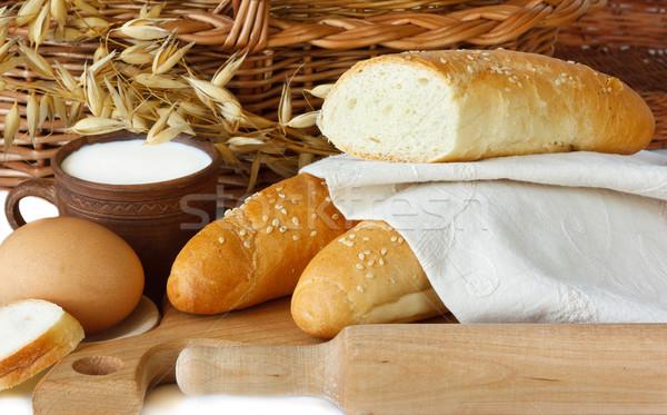 Maison blanche sésame tasse lait oeuf Photo stock © lidante