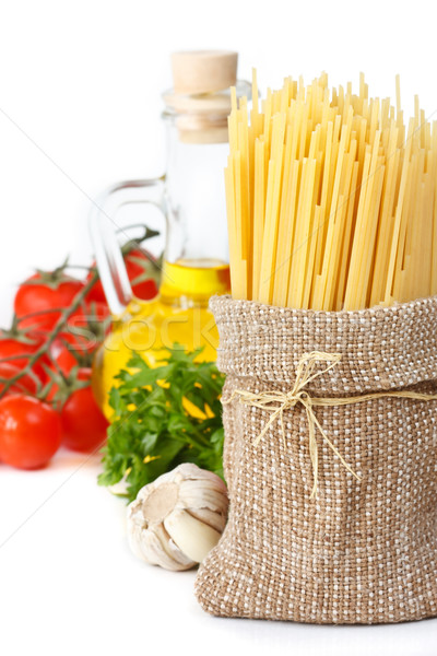 Spaghetti on fabric bag. Stock photo © lidante