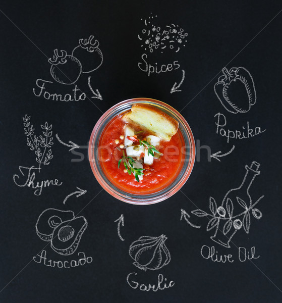 Fresh no-cook soup gaspacho. Stock photo © lidante