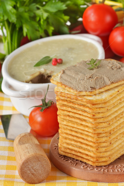 Pate, tomatoes and creckers. Stock photo © lidante
