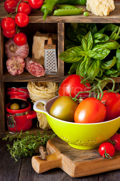 のイタリア料理 生鮮食品 材料 料理 木材 背景 ストックフォト © lidante