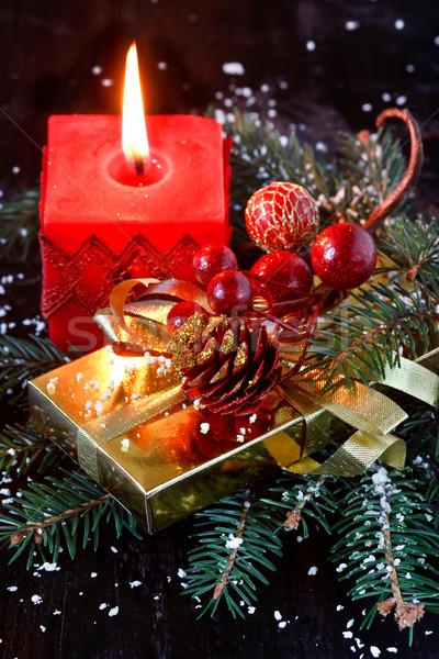 Noël bougie épinette branche arbre design Photo stock © lidante