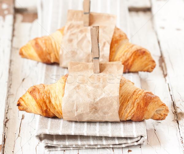 Croissants vers papier oude voedsel Stockfoto © lidante