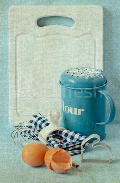 Menu vieux blanche cuisine planche à découper espace de copie Photo stock © lidante