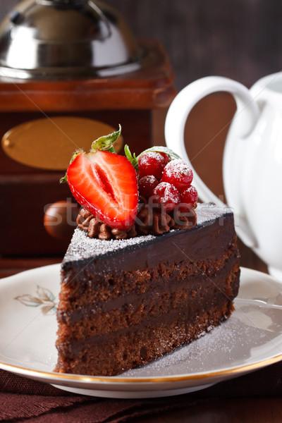 Foto stock: Bolo · delicioso · bolo · de · chocolate · fresco · comida