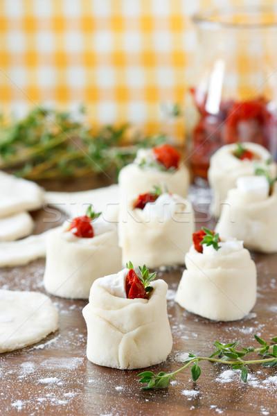 Wenig Torten getrocknet Tomaten Käse home Stock foto © lidante