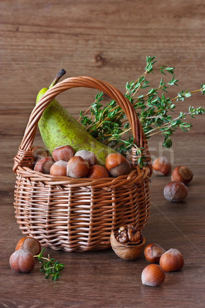 Pear, nuts and thyme. Stock photo © lidante