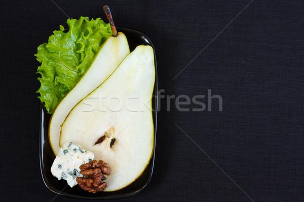 Pera formaggio tipo gorgonzola noce foglia verde insalata Foto d'archivio © lidante