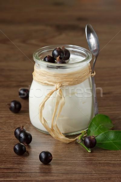 Maison yaourt noir groseille déjeuner santé Photo stock © lidante