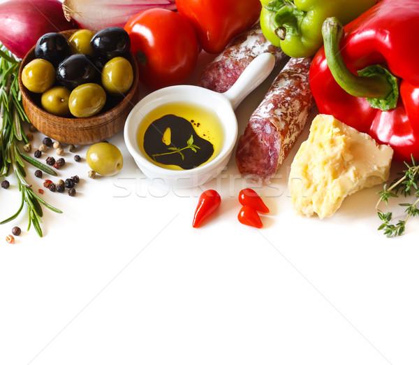 Italienisches Essen frische Lebensmittel Zutaten weiß Tomaten Muster Stock foto © lidante
