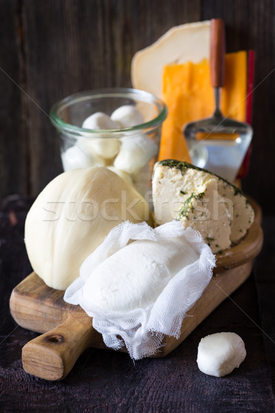 Dairy products on wooden table Stock photo © lidante