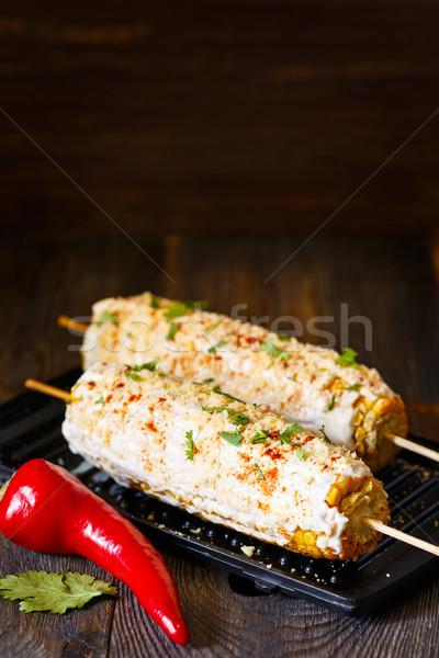 Mexicano a la parrilla maíz frescos caliente calle Foto stock © lidante