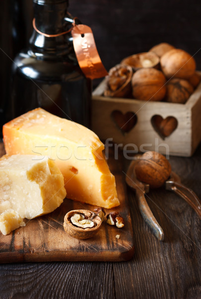 Cheese and nuts. Stock photo © lidante