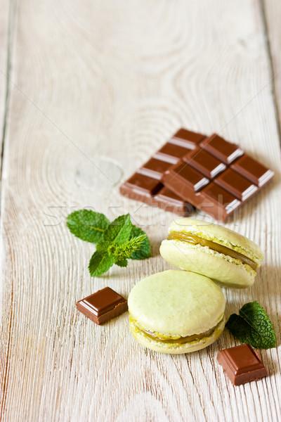 マカロン 新鮮な 甘い ミント チョコレート 食品 ストックフォト © lidante