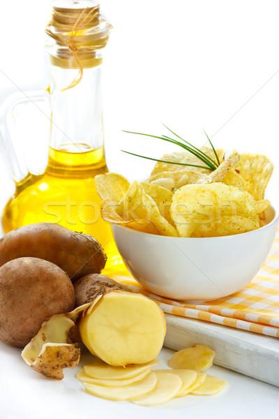 Batatas fritas batata jarro azeite comida Foto stock © lidante