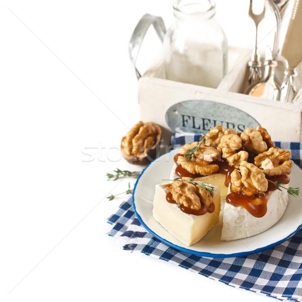 Queijo camembert escuro mel prato fundo Foto stock © lidante