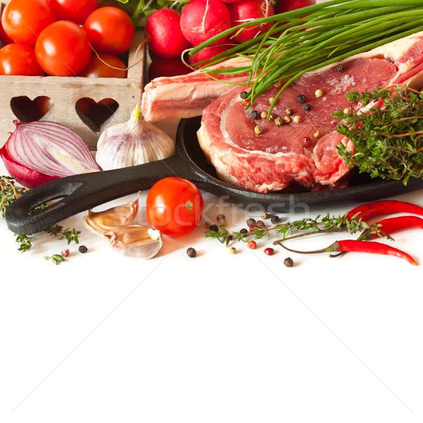 Vers voedsel vers ruw vlees groenten achtergrond Stockfoto © lidante