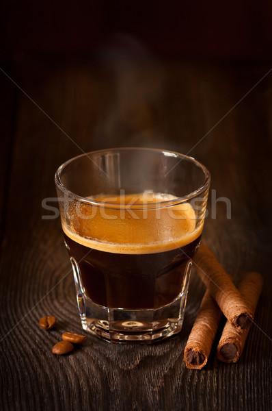 Espresso ochtend beker koffie cookies bruin Stockfoto © lidante