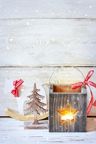Noël décorations bois arbre de noël cheval à bascule lanterne Photo stock © lidante