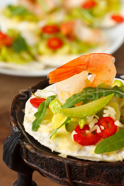 Shrimps with salad. Stock photo © lidante