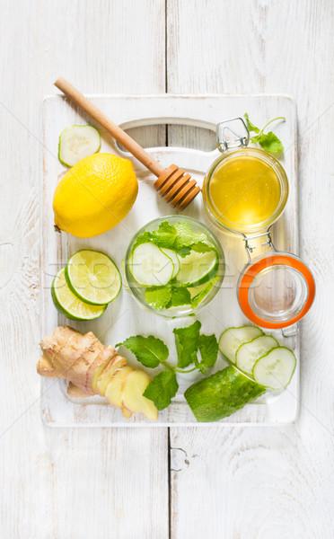 Organikus detoxikáló ital friss hozzávalók fehér Stock fotó © lidante