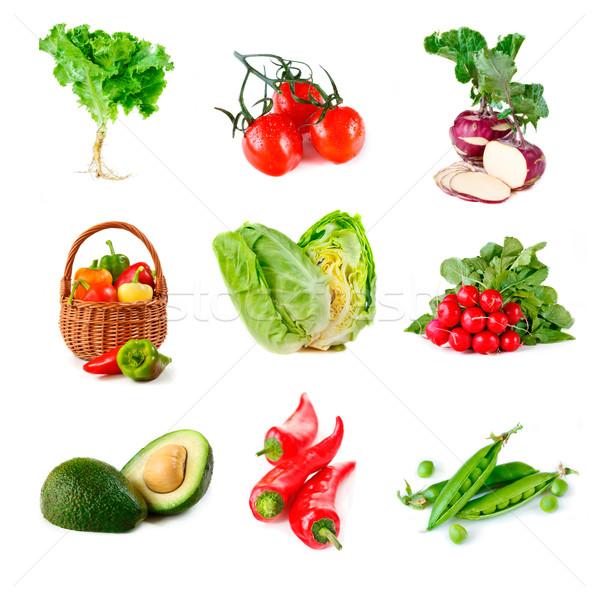 Légumes ensemble fraîches blanche fond Photo stock © lidante