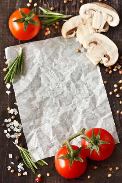 Recept fehér papír étel hozzávalók jegyzet Stock fotó © lidante
