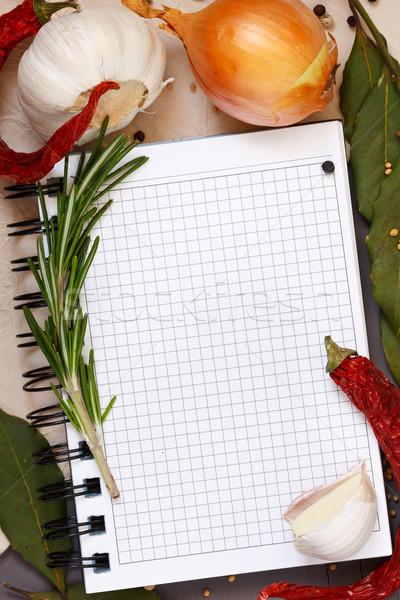 Kulinarny notebooka warzyw przyprawy obrus Zdjęcia stock © lidante