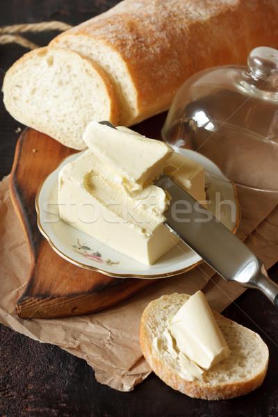 Ekmek tereyağı ev yapımı parça taze gıda Stok fotoğraf © lidante