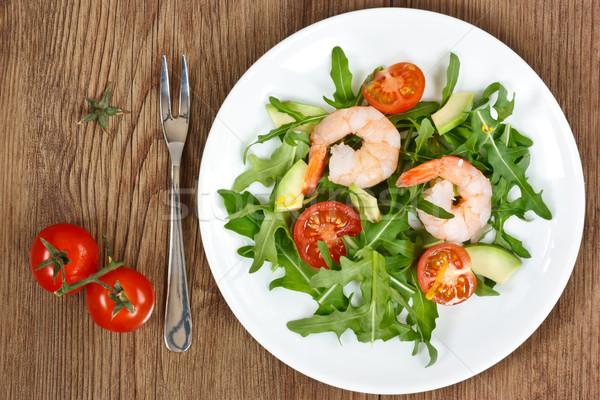 Arugula salad with prawn.  Stock photo © lidante