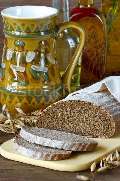 Rozs kenyér házi készítésű konyha tábla búza Stock fotó © lidante