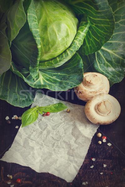 рецепт белый бумаги сведению свежие грибы Сток-фото © lidante