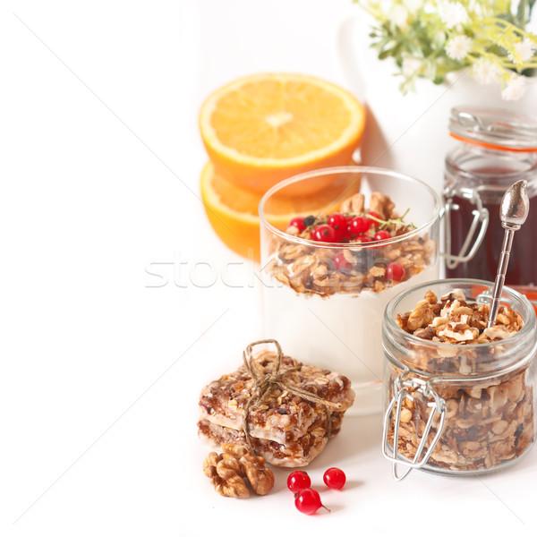 Stock fotó: Granola · egészséges · reggeli · egészség · háttér · bár