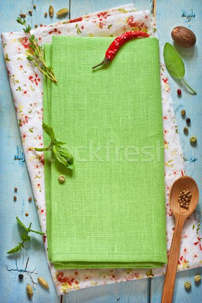 Zöld színes fűszer gyógynövények öreg kék Stock fotó © lidante