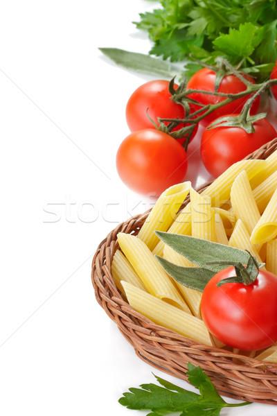 Pasta italiana basket pomodorini prezzemolo Foto d'archivio © lidante