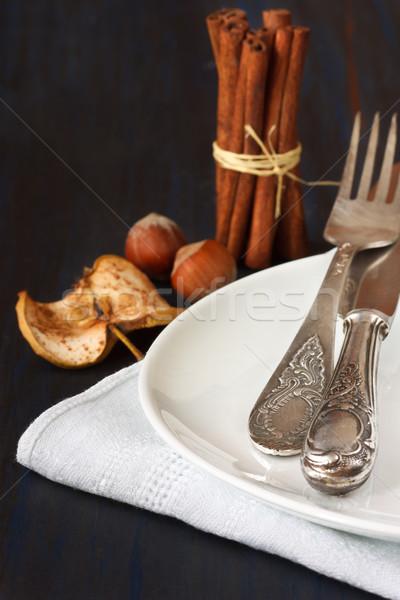 Rústico mesa oscuro azul alimentos manzana Foto stock © lidante