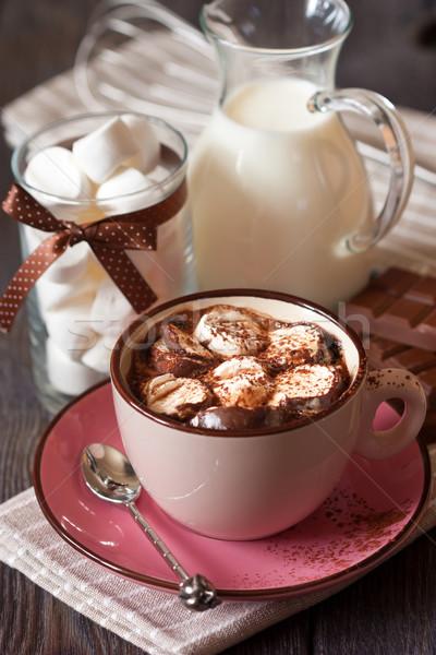 ホットチョコレート 甘い マシュマロ 表 冬 ミルク ストックフォト © lidante