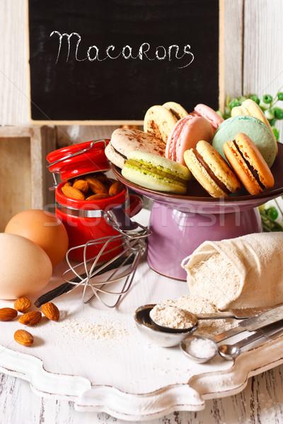 Cuisson macarons délicieux gâteau stand fraîches Photo stock © lidante