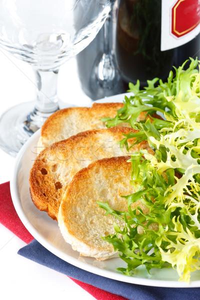 Crusty toastes and salad. Stock photo © lidante