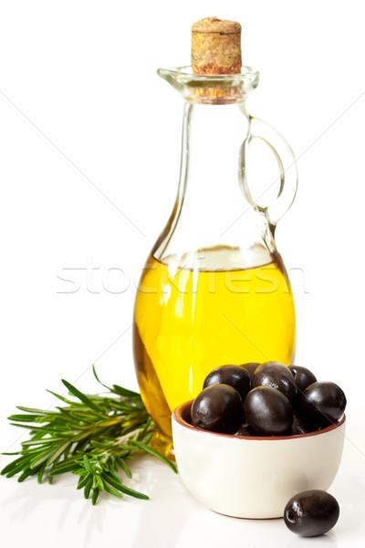 Aceite de oliva aceitunas botella aceitunas negras alimentos luz Foto stock © lidante