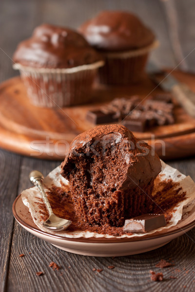 Muffin finom csokoládé muffinok kanál csokoládé szelet Stock fotó © lidante